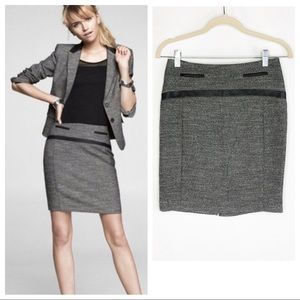 Express Gray Tweed Leather Trim Pencil Skirt